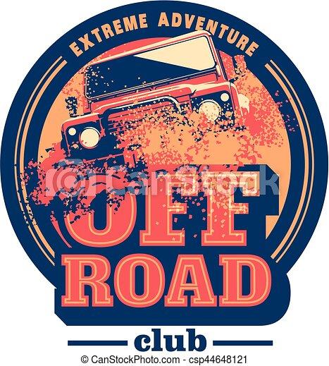 Off-road car logo, safari suv, expedition offroader. - csp44648121