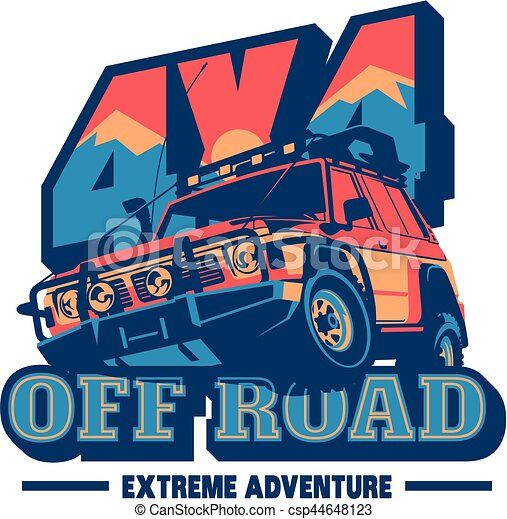 Off-road car logo, safari suv, expedition offroader. - csp44648123