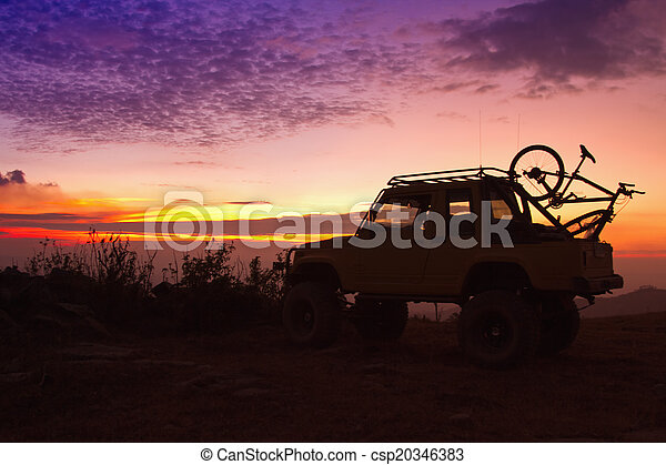 Off Road Car On The Mountain Silhouette shot - csp20346383