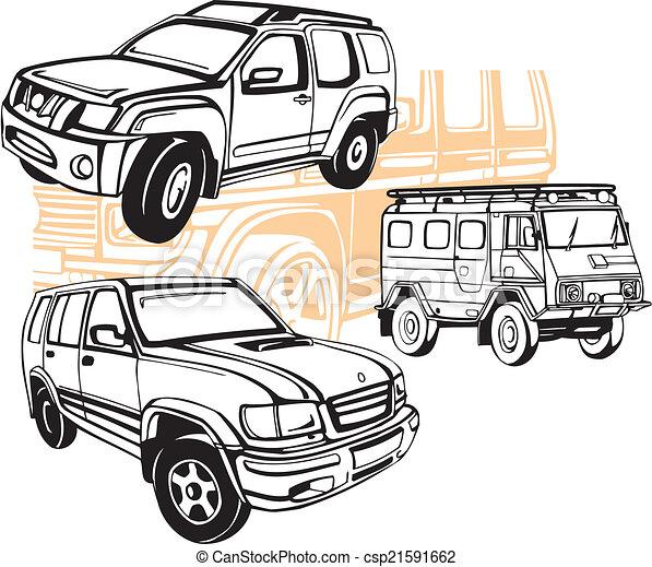 Off-Road Cars - Vector set. - csp21591662