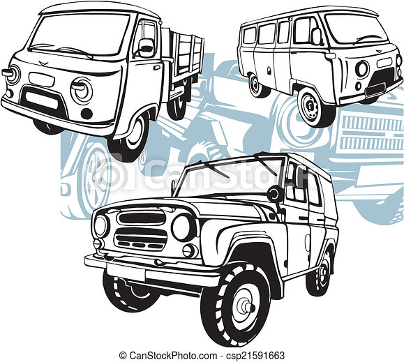 Off-Road Cars - Vector set. - csp21591663