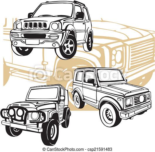 Off-Road Cars - Vector set. - csp21591483
