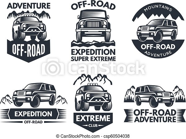 Off Road Symbols Labels With 4x4 Truck Logos Or Labels With Suv