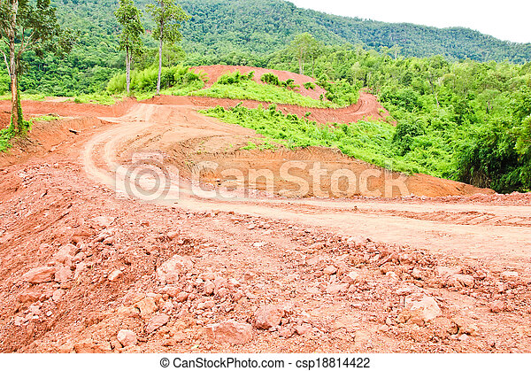 Off road track to the mountain - csp18814422