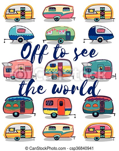 Retro Camper Fun Happy Card Camping Travels Greeting Cute Little Vintage Travel Trailers Caravan Vector Illustration