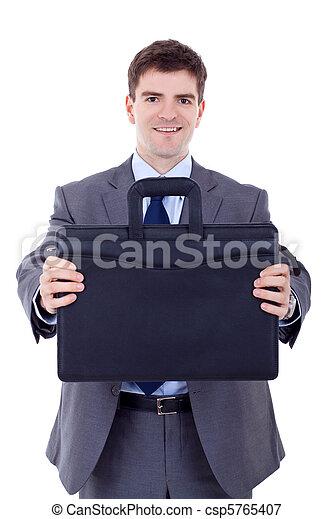 offergave, zakelijk, zwarte man, aktentas - csp5765407