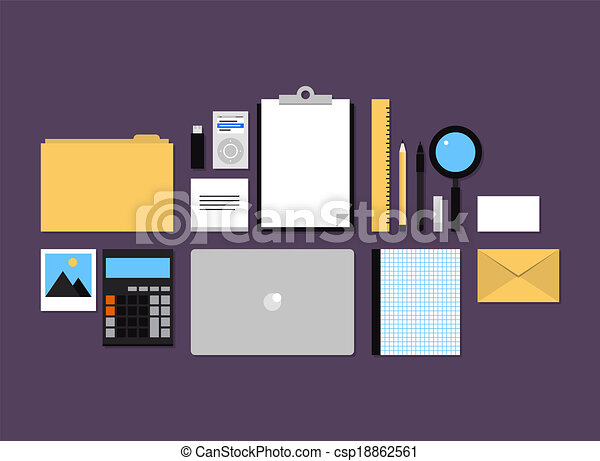 Office accessories flat icons set - csp18862561