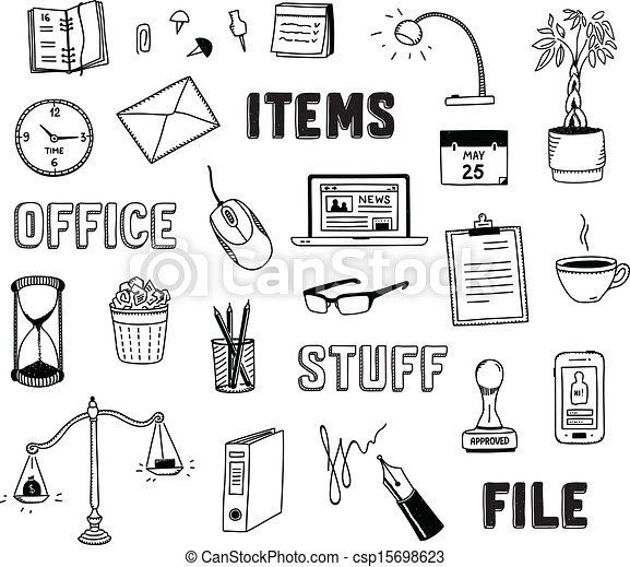 Office and business objects doodles set - csp15698623