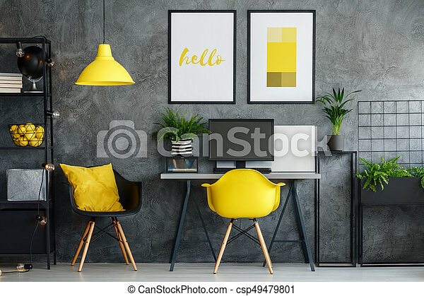 decor office. Office Area With Yellow Decor - Csp49479801