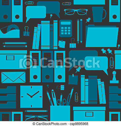 Office Background Seamless Pattern With Office Related Items