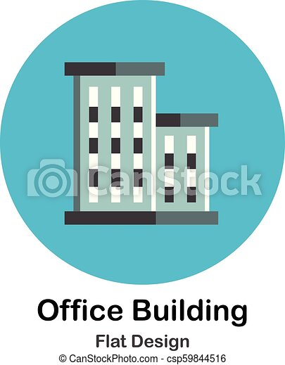 Office Building Flat Icon Two Facade Of Office Building In Flat