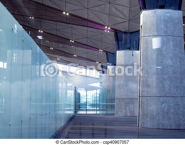 Office Building Lobby or airport Background  Modern interior  Glass and  concrete
