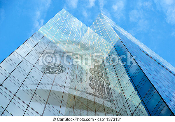 Office building with hundred dollar bill - csp11373131