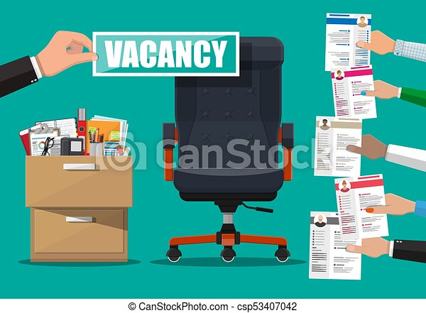 Office chair and sign vacancy in hand of boss. - csp53407042