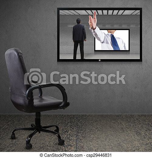 Office chair and TV screen - csp29446831