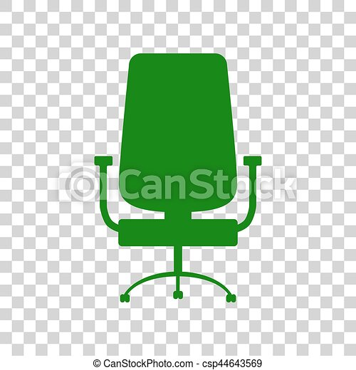 office chair icon. Office Chair Sign. Dark Green Icon On Transparent Background. - Csp44643569