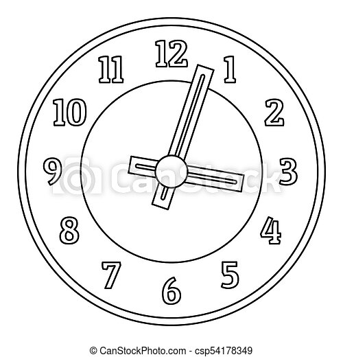 Office clock icon, outline style. - csp54178349