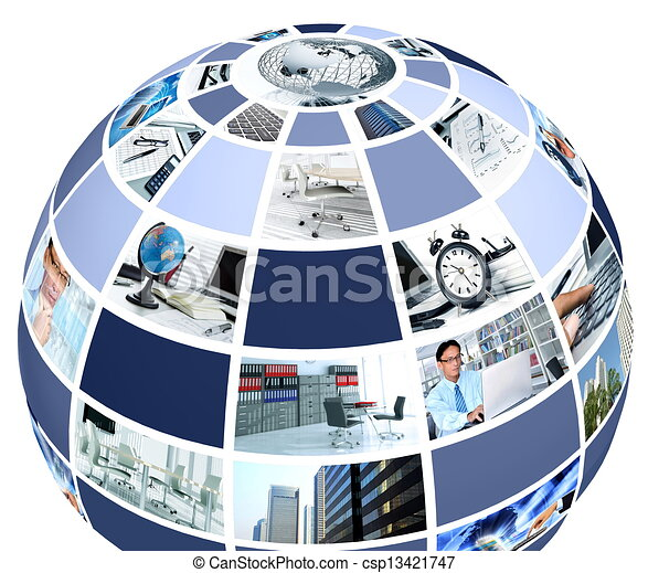 office collage in globe shape csp13421747
