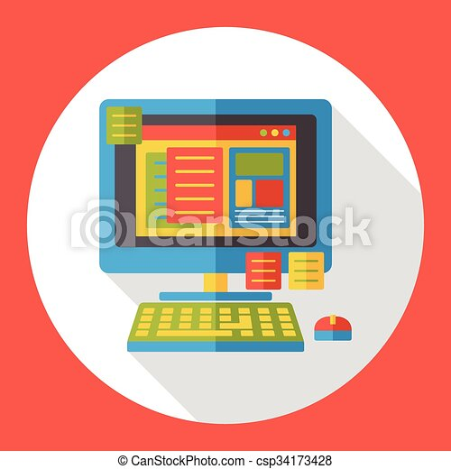 office computer flat icon - csp34173428