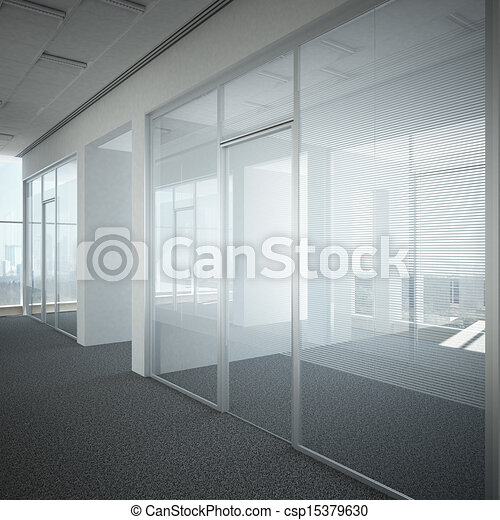 office corridor door glass - csp15379630 & Office corridor door glass 3d render.