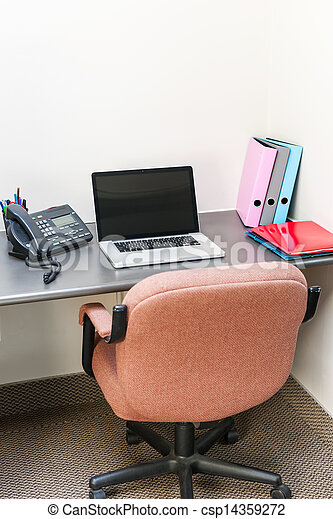 Office cubicle with laptop computer - csp14359272