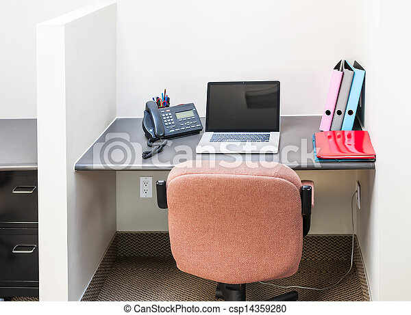 Office cubicle with laptop computer - csp14359280