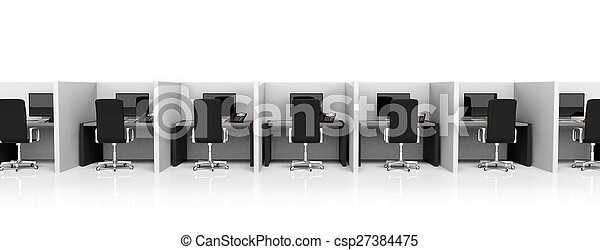 Office cubicles with equipment and black chairs on white background - csp27384475