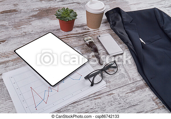 Office desk accessories composition. - csp86742133