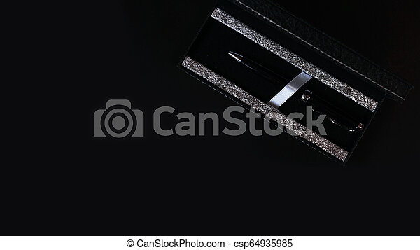 Office desk table with pen. Top view with copy space - business concept - csp64935985