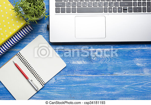 Office desk table with supplies. Top view. Copy space for text - csp34181193