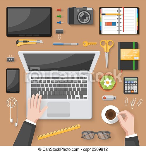 office table top view. Office Desk Top View Design - Csp42309912 Table
