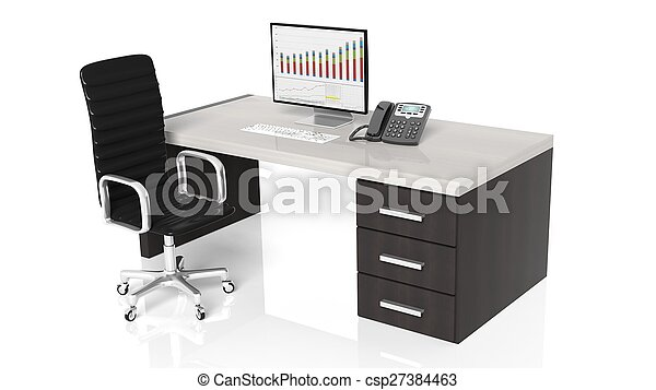Office desk with equipment and black chair on white background - csp27384463
