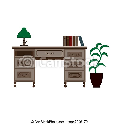 Fine Office Desk With Shelves Green Lamp And Books On Download Free Architecture Designs Estepponolmadebymaigaardcom