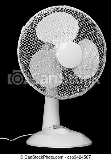 Office fan isolated on black background - csp3424567
