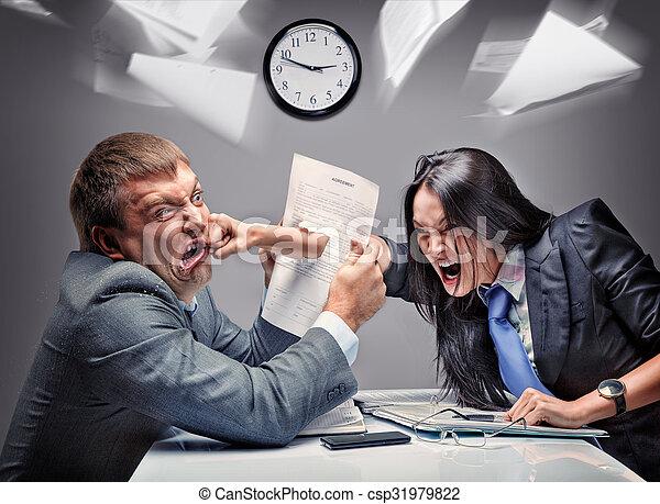 Office fight - csp31979822