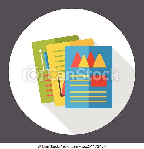 office files flat icon - csp34173474
