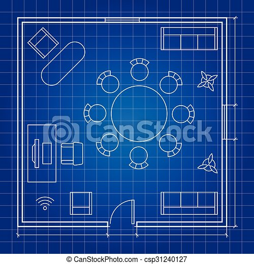 Office Floor Plan With Linear Vector Symbols Conference Business Outline Furniture Icons Office Floor Plan With Linear Canstock