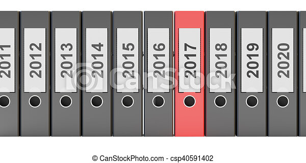 office folders new year 2017 concept, 3D rendering