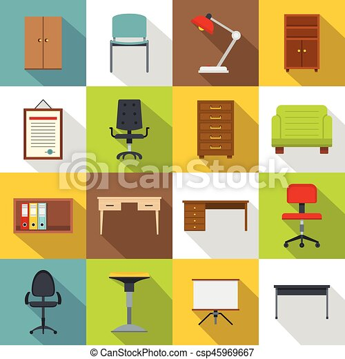 Office Furniture Icons Set Flat Style Vector