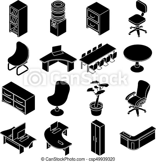 isometric office furniture vector collection. Office Furniture Icons Set, Simple Isometric Style - Csp49939320 Vector Collection V
