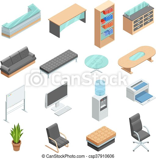 Fine Office Furniture Isometric Icons Set Download Free Architecture Designs Embacsunscenecom