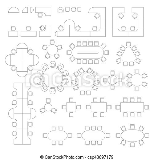 office furniture plans. Office Furniture Line Symbols For Architectural Plans. Set With Workplace And Meeting Tables In Top View. Plans L