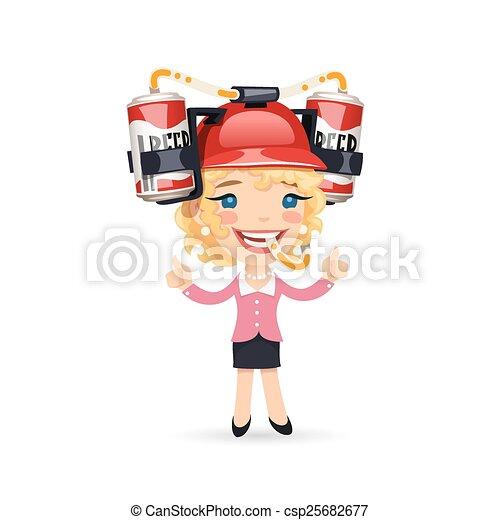 Office girl with red beer helmet on her head csp25682677