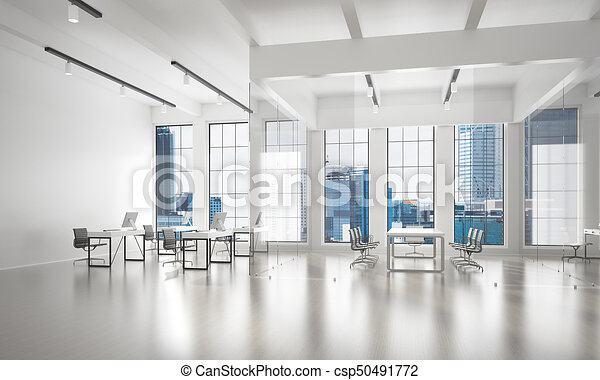 Office interior design in whire color and rays of light from window - csp50491772