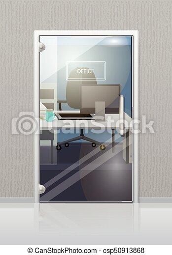 Office Interior Through Glass Door Flat Vector Office Workplace