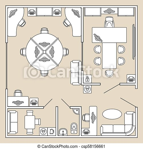 Office Interior Top View Architecture Plan Vector Illustration