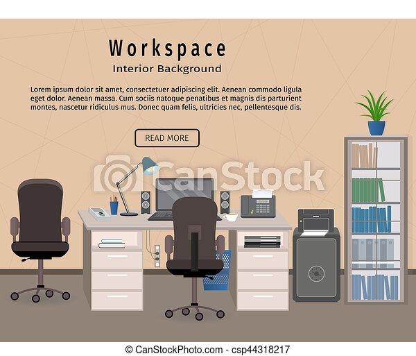 web design workspaces workspace office interior. Office Interior Workspace. Workplace Organization Concept. Web Design Banner. - Csp44318217 Workspaces Workspace C