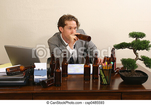 Office Lush Business Man At Desk With Empty Beer Bottles