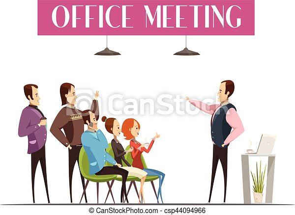 office meeting cartoon style design office meeting design including