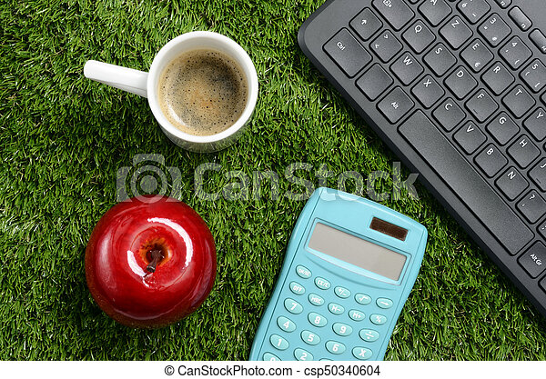 Office On Green Lawn Coffee Calculator Notebook Laptop Apple For Good Work